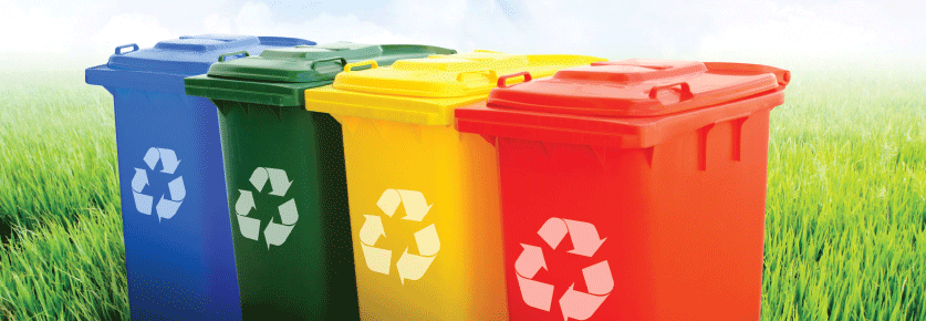 colourful recycling bins lined up